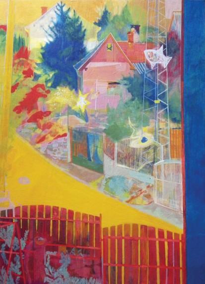 Ablakból lll., 2015 (rétegelt lemez, tojástempera, 60 x 86 cm)
