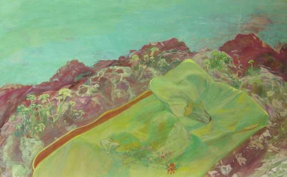 Diana nékül, 2012 (rétegelt lemez, tojástempera, 65 x 40 cm)