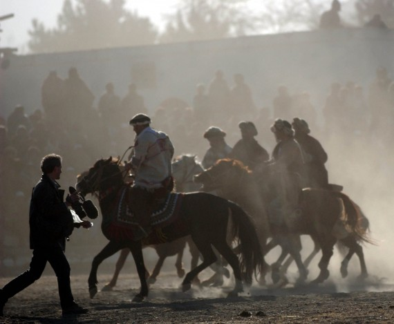 Filming in Afghanistan, Kabul (a buzkashi game).